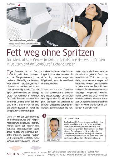 Bericht im Kölner Stadt Anzeiger zum Fett Weg Laser